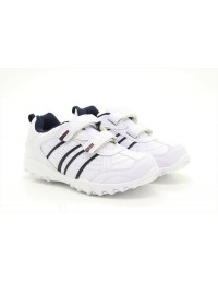 PDQ FUSION T702 Boys Black White Touch Fastening Trainers