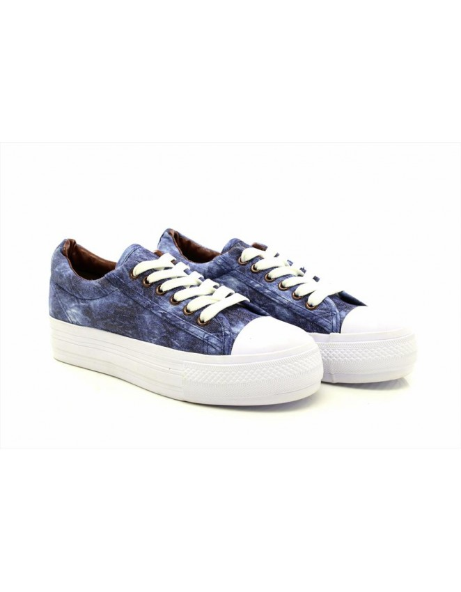 Maverick Denim Chunky Sole Summer Canvas Lace Up Shoes