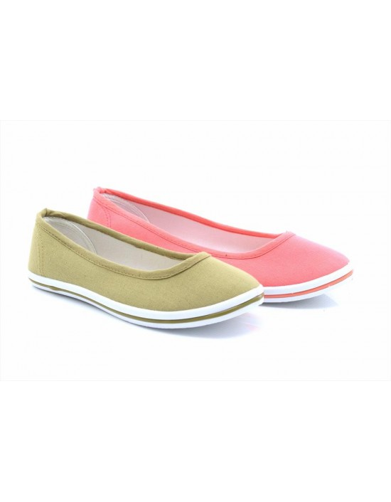 DEK Womens Ladies Canvas Slip-On Ballerina Plimsolls Shoes Pumps Navy/Taupe/Pink