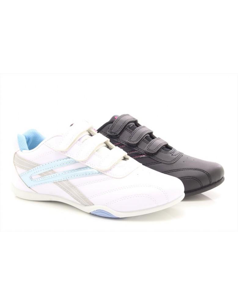 Ladies Girls Dek RAVEN Comfort Touch Fastening Trainers White/Light Blue PU