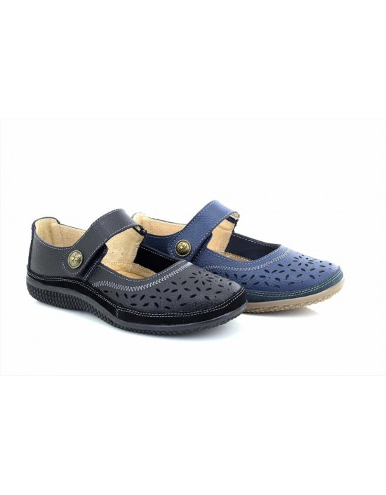 Boulevard L408 Casual Wide Fitting Touch Fastening Perforated Bar Shoes