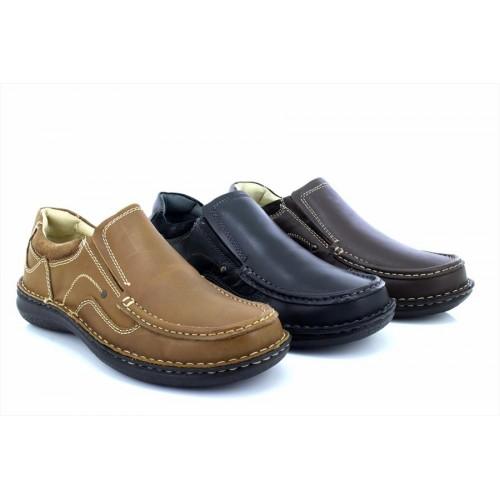 Dr Keller HOWARD Mens Leather Twin Gusset Slip-On Comfy Wide Fit Loafers Shoes