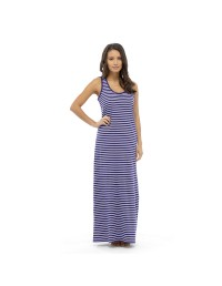 Ladies Maxi Dresses Tribal Print Blue Striped Summer Dress