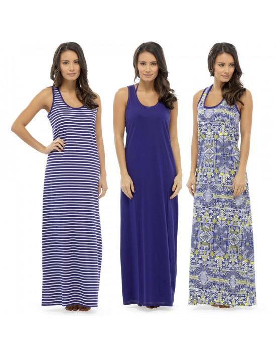 Ladies Maxi Dresses Tribal Print Blue Striped Summer Dress