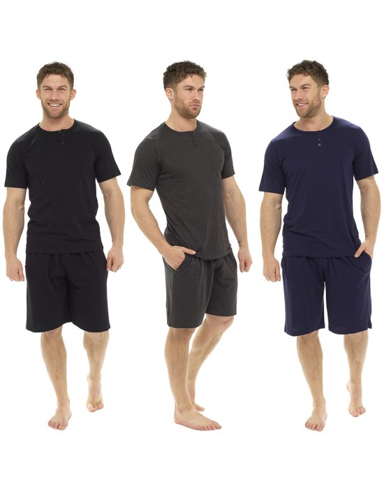 Mens Pyjama 100% COTTON Short Sleeves T-shirt and Short Pants M - XXL