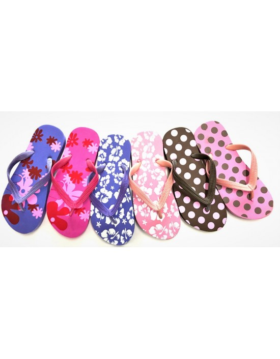 Womens Ladies Floral Print Flip Flops Floral Design Summer Shoes