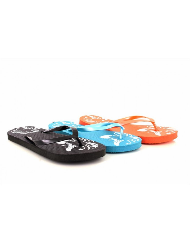 8e346c7600d2 Ladies Girls Flip Flops Beach Sandals Floral Print Black Teal Orange ...