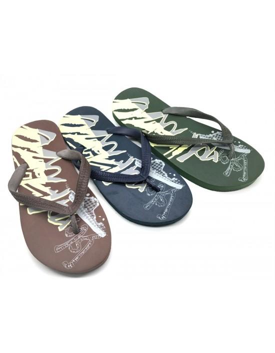 Mens Summer Flip Flops Island Haze Print Summer Swimming Shoes