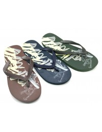 Mens Summer Flip Flops Island Haze Print Summer Swimming Shoes