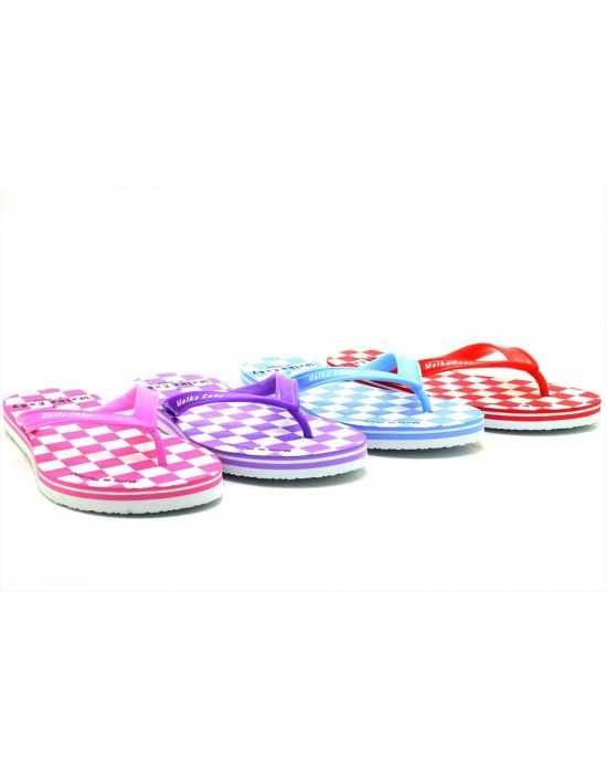 Womens Ladies Square Print Flip Flops Summer Beach Garden Shoes