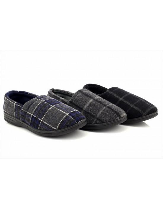 Mens James Warm Velour Tartan Wool Effect Full Slippers