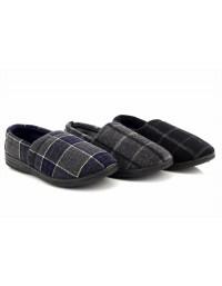 Mens Checked Furlined Full Back Slip on Luxury Slippers Sizes 7,8,9,10,11,12
