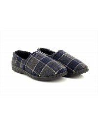 Mens Sean Warm Fur lined Tartan Effect Luxury Full Indoor Slippers