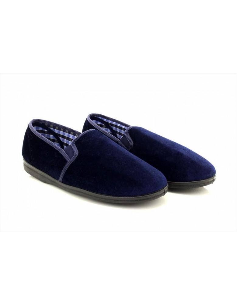 Sleepers SIMON Plain Gusset Check Lining Indoor Slippers Black Velour