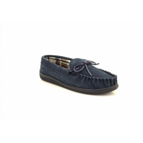 New England Navy Mens Real Suede Moccasin Slipper Classic Full Slippers