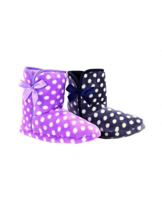 Zedzzz JESSICA Spotted Bootee Indoor Winter Warm Slippers Zedzzz JESSICA  Spotted... Zedzzz, Navy&Purple Lilac Spotted Boots ...