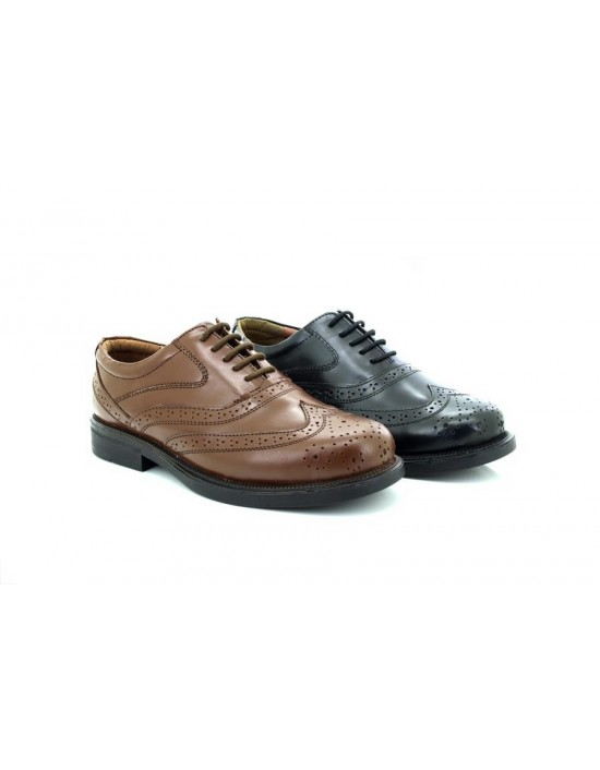 Mens Scimitar Classic Leather Brogue Wing Cap Oxford Shoes