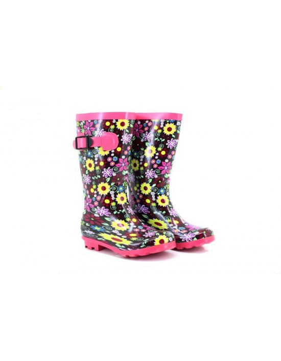 StormWells W153 Girls Floral Strap Adjustable Waterproof Wellington Boots