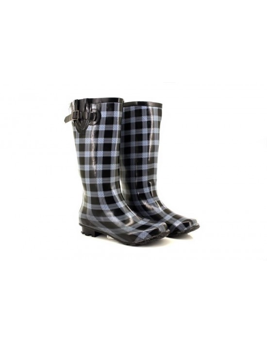 StormWells Ladies Black Checked Garden Festival Winter Wellingtons