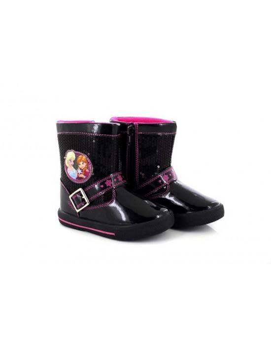 Frozen Disnep 'Matilda' Black Sequin Diamante Glitter Novelty Ankle Boots