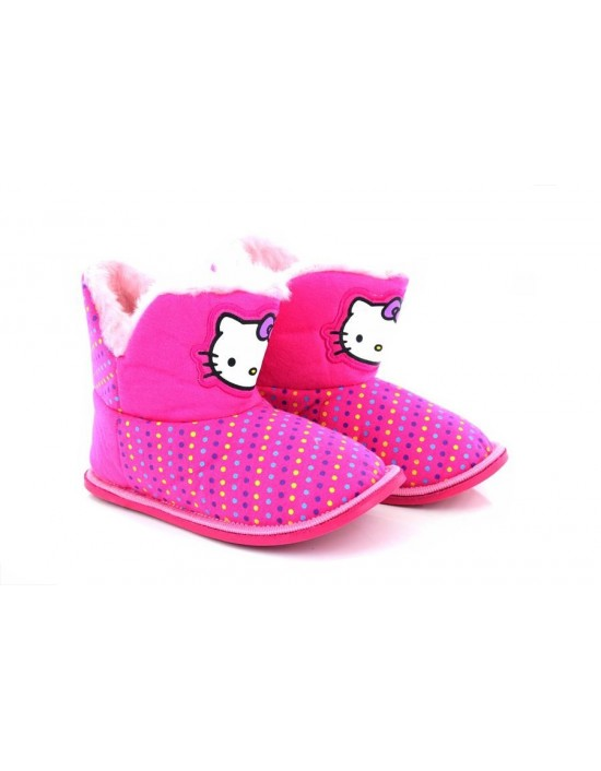 Official Hello Kitty Girls Furry Pull On Bootee Indoor Slippers