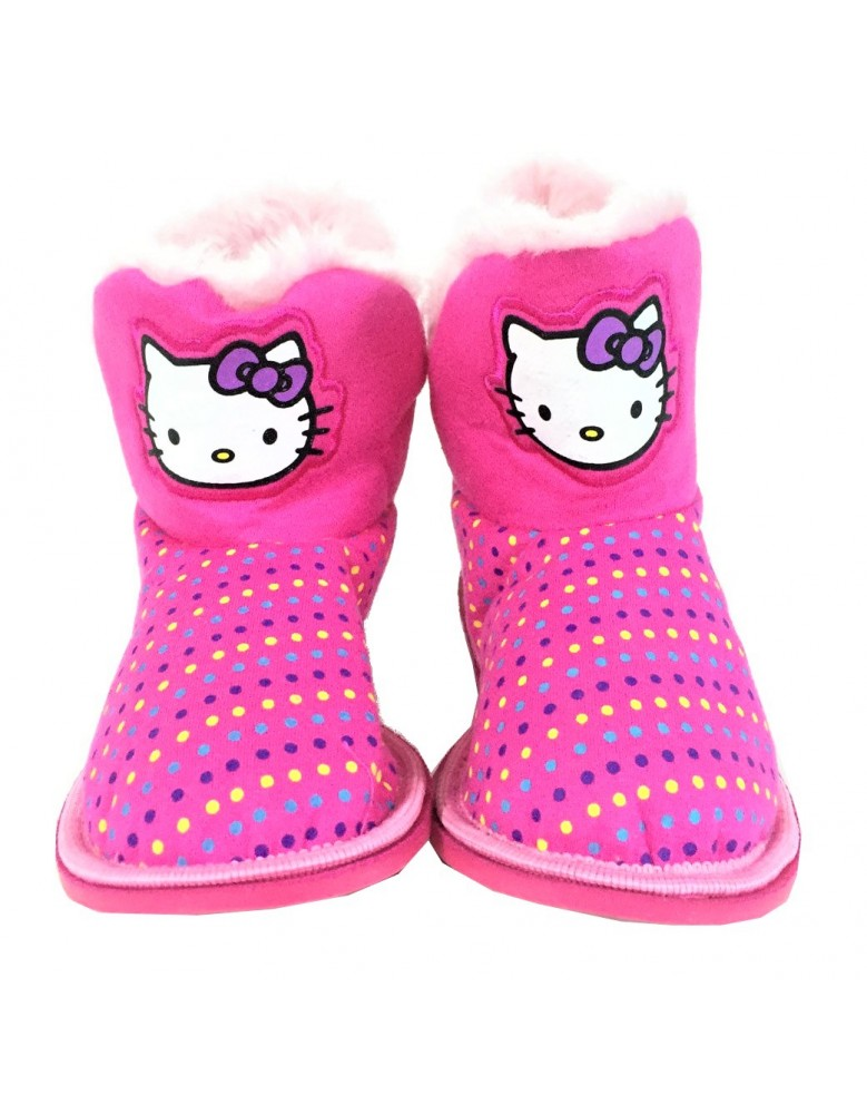 d4ea61b28 Official Hello Kitty Girls Furry Pull On Bootee Indoor Slippers ...