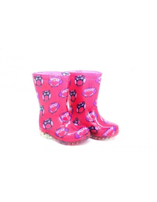 Penguin Pink Animal Print Flashing Waterproof Wellington Boots
