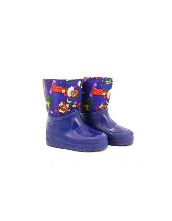 Kids Unisex Clown Blue Half Wellington Storm Moon Thermal Boots
