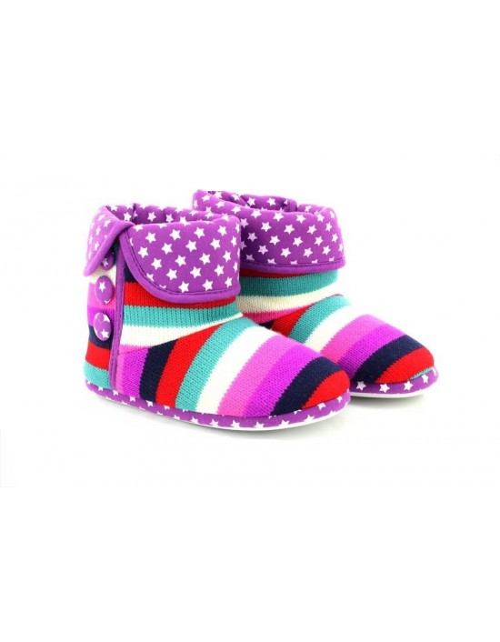 Ladies Girls Stripe Purple Indoor Bootee Slippers