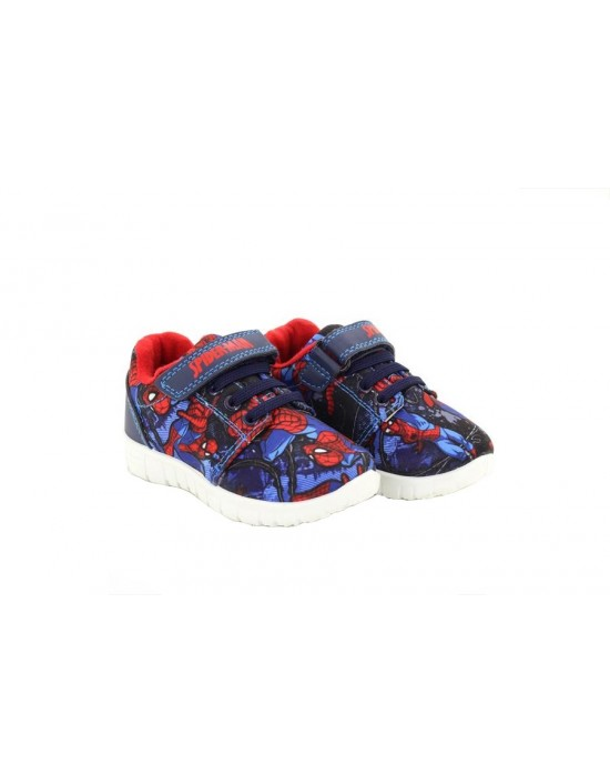 Kids 'OFFICIAL SPIDERMAN' Navy Red Touch Fasten Trainers Marvel