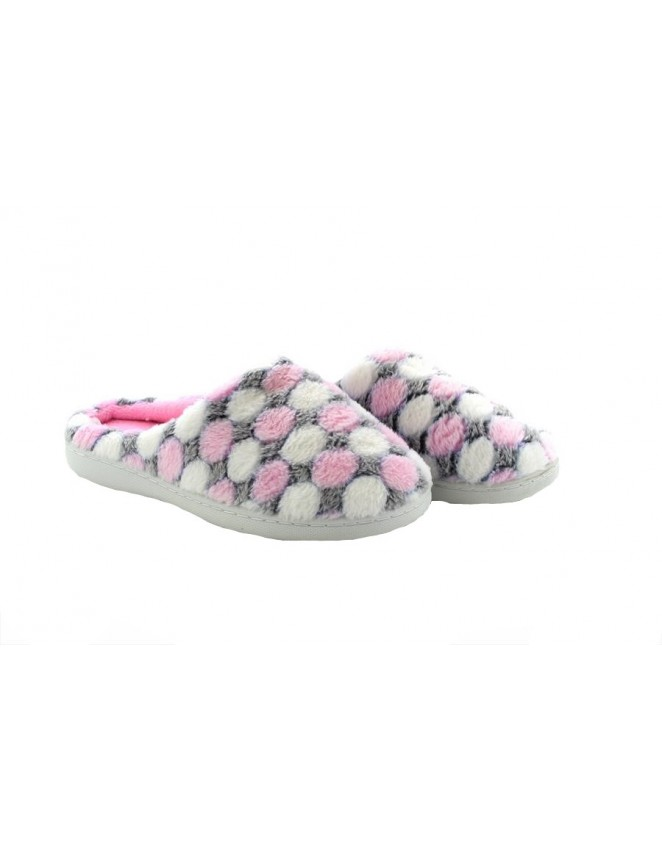 564892737 Ladies Fleece Lined Memory Foam Slippers Mules Clogs With Pink Polka Dot