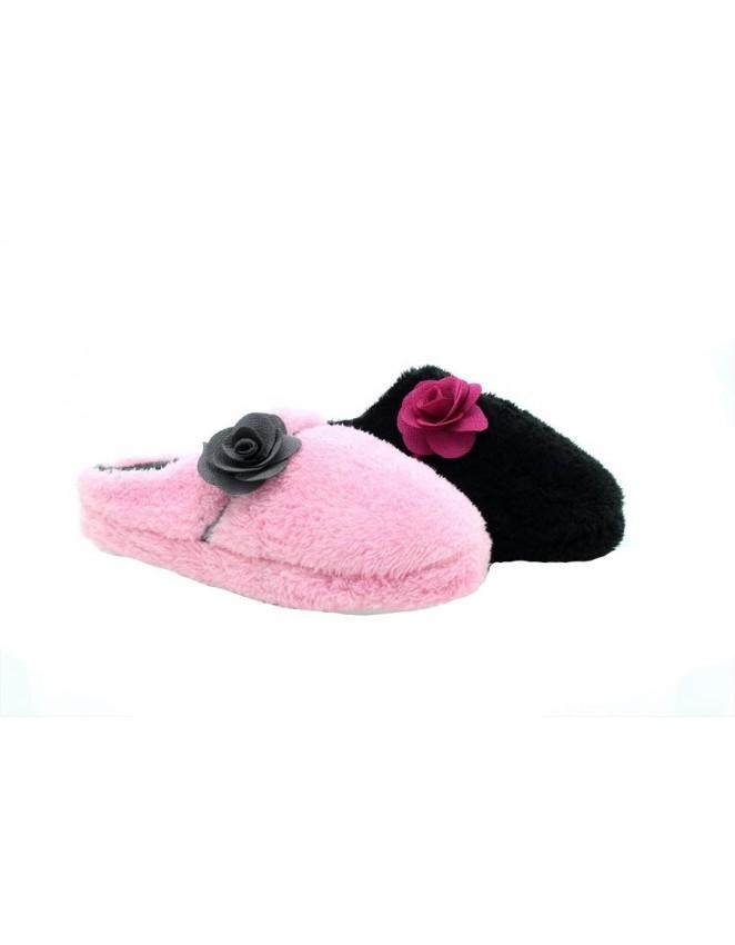 Ladies Amy Luxury Bow Flower Mule Slippers Memory Foam For Comfort