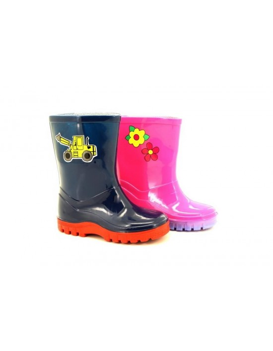 StormWells W204 PUDDLE Boys Girls Wellingtons Rain Boots