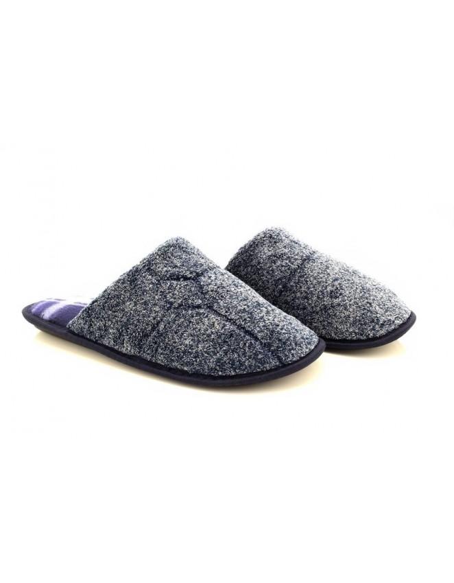 Mens Slip On Cool Warm Indoor Microsoft Textile Tartan Check Slippers