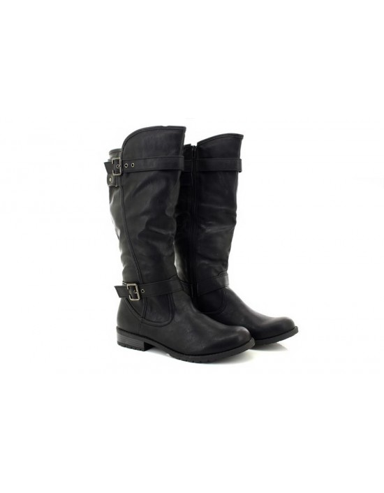 Heart And Sole Cherie Faux Leather Side Zip High Winter Riding Boots
