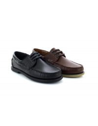 Dek Elliot M095 Brown Black Leather Moccasin Hand Stitched Boat Shoes
