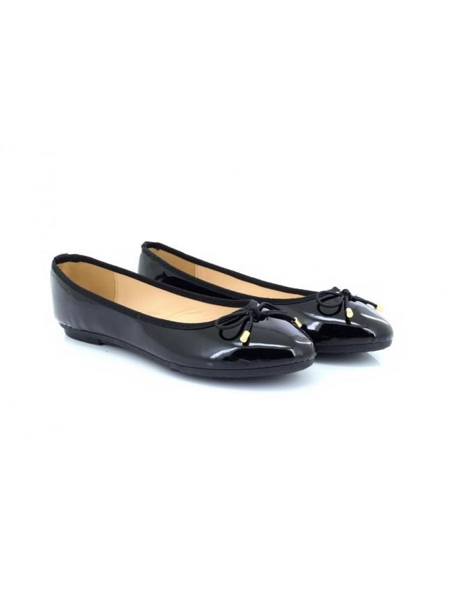 c39f807b4da Ladies Girls Black Flat Slip on Bow Ballerina Ballet Dolly Style Pump