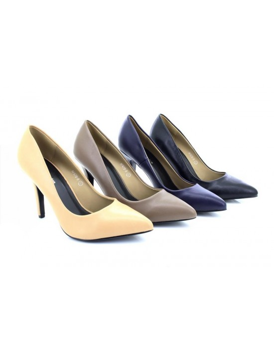 ShuCentre Everyday Tracey Faux Leather Stilleto High Heel Pointed Court Shoes