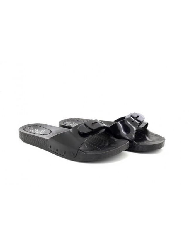 f5ae868c99a4 New Truffle Ladies Slip On Buckle Rubber Waterproof Slipper Sliders Black