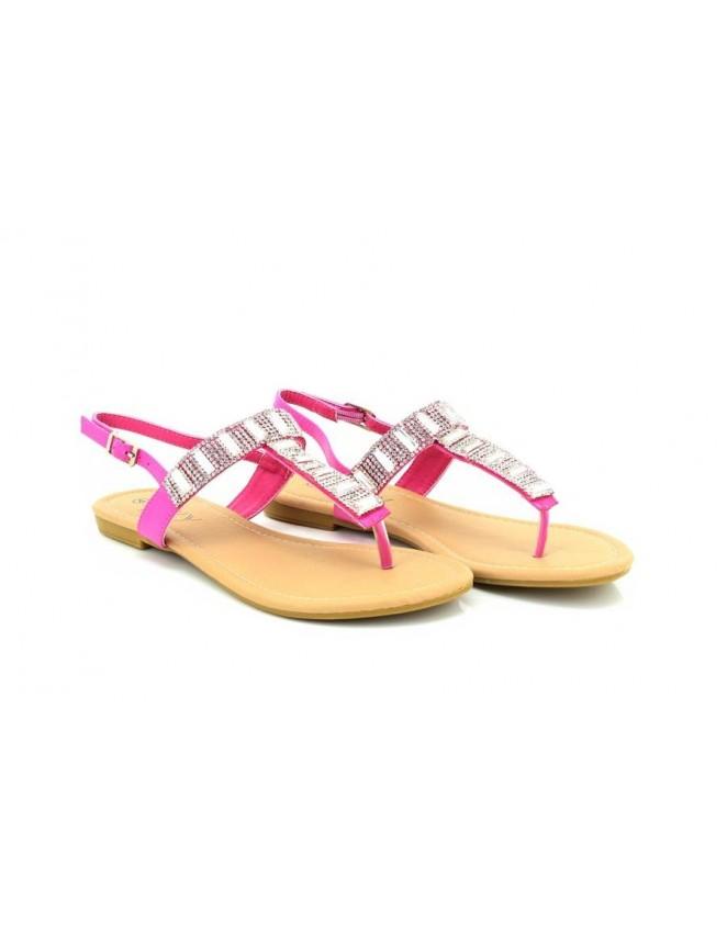 Salina ShuCentre Elegant Diamante Summer Slip On Toe Post Sling Back Summer Sandals