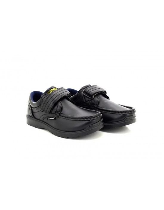 Boys U.S.Brass C657 Black Ted Touch Fasten Casual Shoes