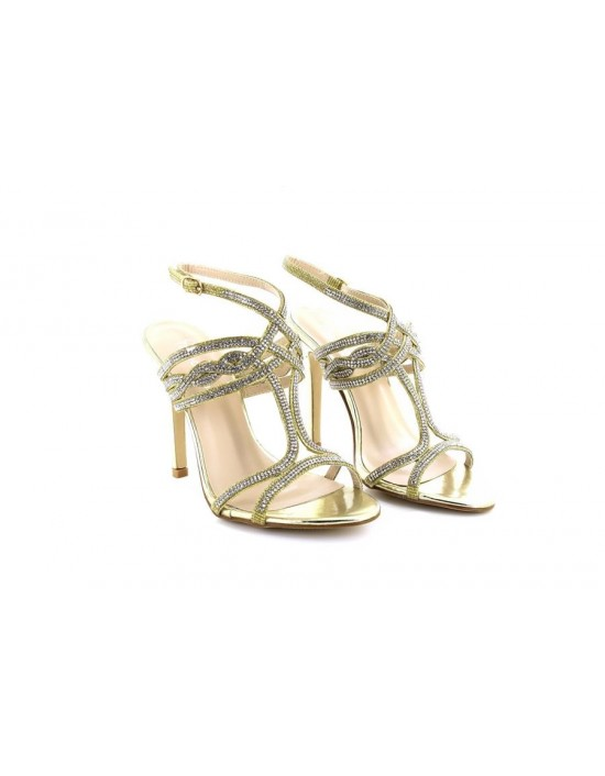 Ladies GOLD Mid Heel Party Bridal Glitter Sandals Wedding Prom Shoes