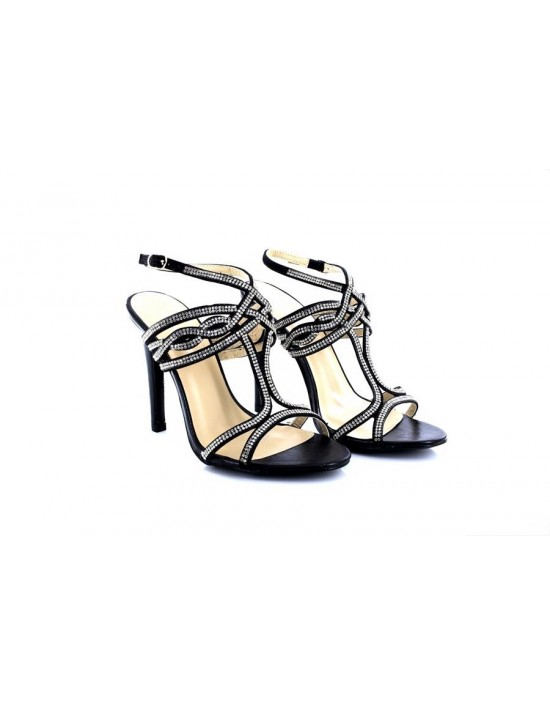 Womens Ladies Black/Silver Occasion Wedding Sparkle High Heel Ankle Strap Sandals