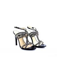 Ladies BLACK Mid Heel Party Bridal Glitter Sandals Wedding Prom Shoes