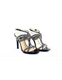 Womens Ladies Black/Silver Occasion Wedding Sparkle High Heel Ankle Strap Sandals