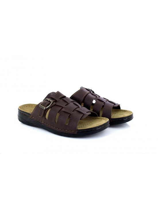 Mens Winsford Faux Leather Brown Slip On Beach Walking Trail Mule Sandals