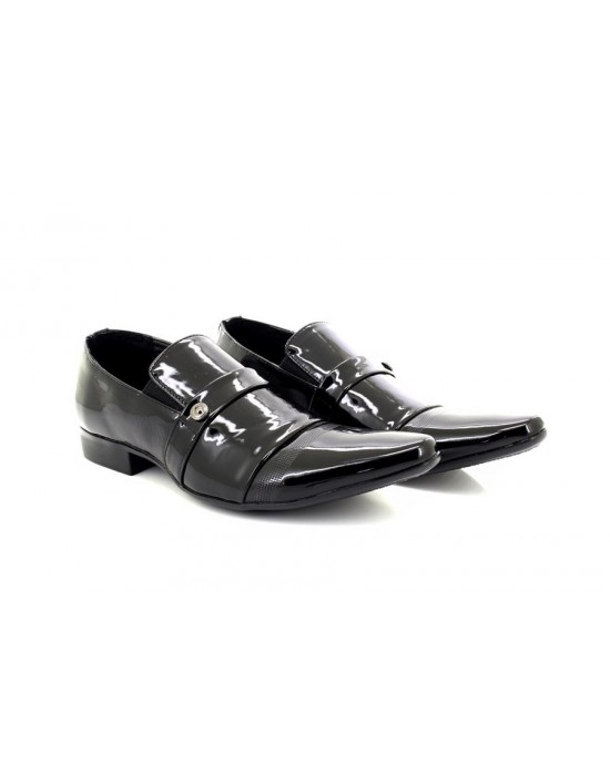 ShuCentre Mens Dave Black Patent Classic Designer Slip On Smart Wedding Party Shoes