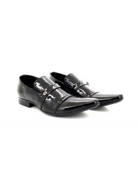 ShuCentre Mens Dave Black Patent Classic Designer Slip On Smart Wedding Party Shoes