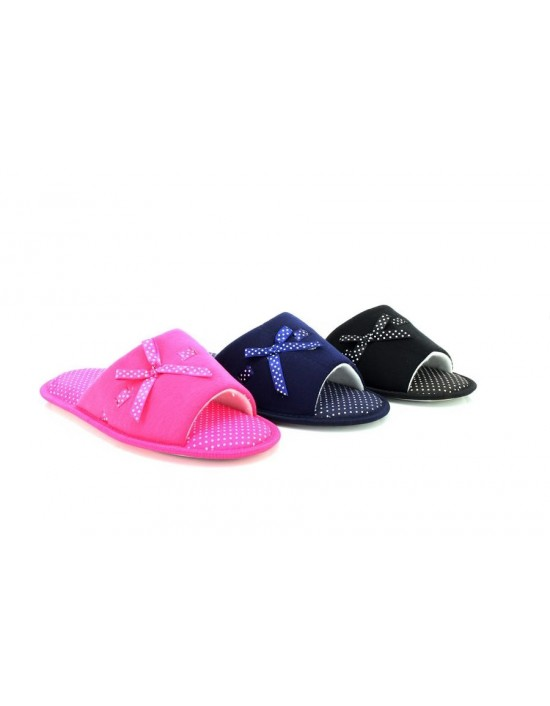 Ladies Sarah Luxury Bow Open Mule Slippers Memory Foam Sock New