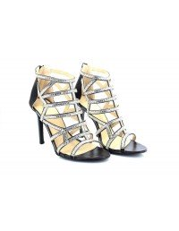 Ladies Black/Silver Party Sparkly Evening Wedding Shoes High Heel Sandals